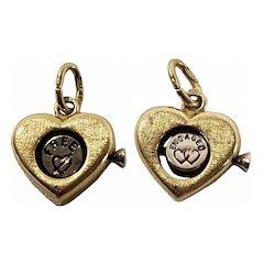 18k Gold Revolving Heart Charm or Pendant