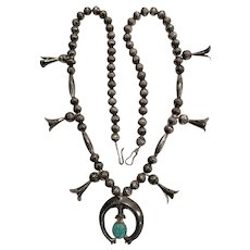 Vintage Native American Smaller Scale Sterling Turquoise Squash Blossom Necklace