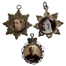 Royalty Queen Victoria Golden and Diamond Jubilee Brass Commemorative Pendants