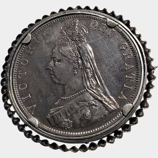 Royalty Antique 1887 Queen Victoria Jubilee Head Sterling Silver Double Florin Brooch