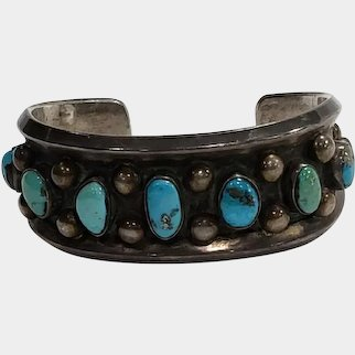 Vintage Sterling Silver Native American Turquoise Cuff Bracelet - 7 Natural Stones