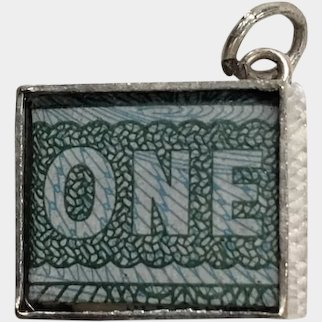Vintage English Sterling Silver One Pound Note Money Box Charm or Pendant