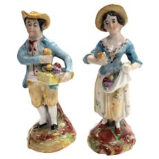 19th Century English Pottery Couple Figurines
