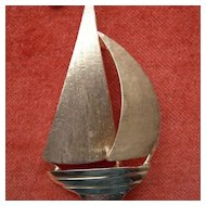 Gold Sailboat Brooch