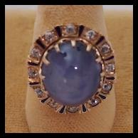 Edwardian Star Sapphire and Diamond Ring