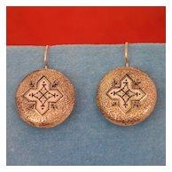 Victorian Gold and Black Enamel Earrings