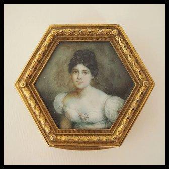 Victorian Box with Miniature Portrait Lid