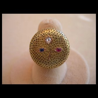 Gold Victorian Button Ring