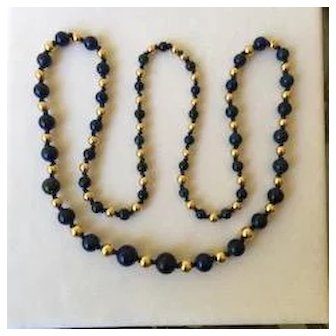 Lapis and 14k Yellow Gold Necklace
