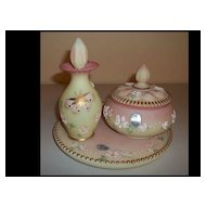 Fenton Glass Handpainted and Signed Burmese Dresser Set