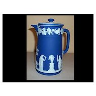 "Blue Wedgwood Jasperware Pitcher 7 1/2""  With Lid"