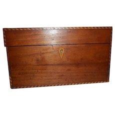 Wood Tea Caddy with Eagle Inlay, Key, Tin Jars and Strainer