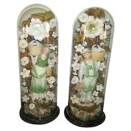 Pair Victorian Parlor Domes Bisque Figurines and Flowers