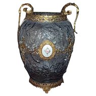 Consolidated Glass Ormolu Mounted Blue Glass Le Fleur Vase with Medallion.