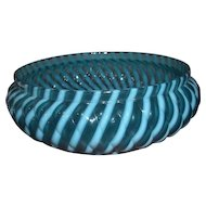 Buckeye Blue Opalescent Bowl in Reverse Swirl Pattern