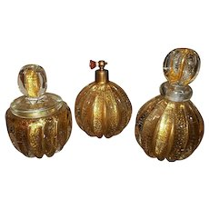 Murano Controlled Bubble Glass 3 Piece Vanity Set