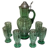 Green Bohemian Blown Glass Ale Tankard Set with 6 Tumblers