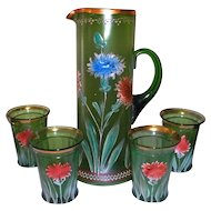 Northwood Green Glass Water / Lemonade Tankard Set Hand Painted Flowers