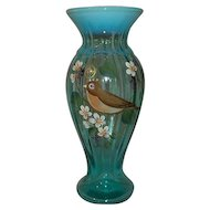 Fenton Art Glass Vase Opalescent and Robin Blue Color  Signed Jackso