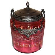 Victorian Glass Cranberry Enamel Biscuit Jar