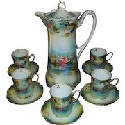 R S Prussia Reflecting Water Lilies Porcelain Chocolate Pot Set