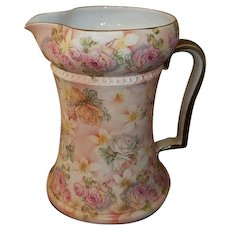 """Royal Bayreuth Rose Tapestry Pitcher  Rare Size  6 3/4"""" Tall"""