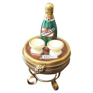 Limoges Trinket Box Champagne Bottle w Two Glasses on Table