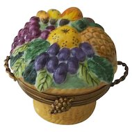 Limoges Chamart Fruit Basket Trinket Box