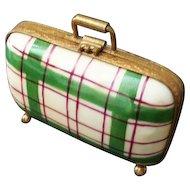 Limoges Plaid Suitcase Trinket Box