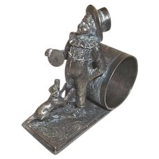 Figural Napkin Ring Boy Playing with Puppy Dog