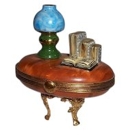 Limoges Trinket Box Desk with Books and Lamp