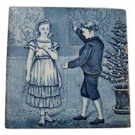 Wedgwood Calendar Tile Blue and White December