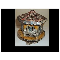 Grey Cast Iron Comp.  Carousel Merry Go Round Semi Mechanical Bank