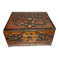 Tramp Art Hinged Carved Wood Box Personalized