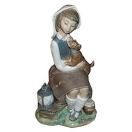 Lladro Girl with Puppy Sitting by Lantern  Figurine  4914