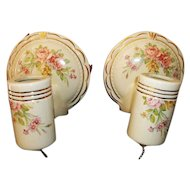 Pair Vintage Porcelain Wall Lights / Sconces Floral Design