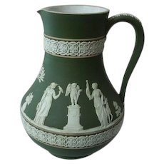 "Antique Wedgwood Jasperware Green Tricolor Pitcher 7"" Tall"