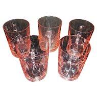 Five Heisey Glass Flamingo Pink Tumblers Yeoman Pattern Diamond Optic Design