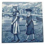 Wedgwood Porcelain Blue Calendar Tile July