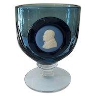 Wedgwood Blue Glass Goblet Winston Churchill Jasperware Cameo