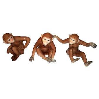 Franz Fine Porcelain Three Monkey Figurine Set