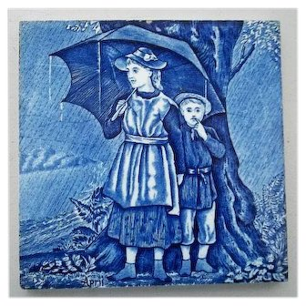 Wedgwood Blue Calendar Tile for April  6""