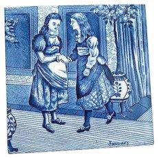 "Wedgwood Porcelain Blue Calendar Tile for January  6"" by 6""."