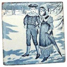 "Wedgwood Calendar Tile February  6"" by 6""."