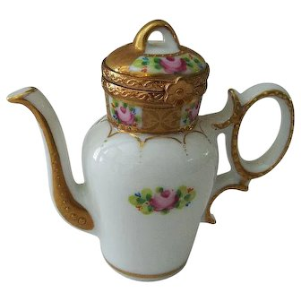 Limoges Coffee Pot Trinket Box Signed