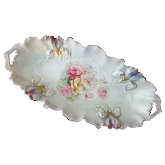 R S Prussia Iris Mold Celery Dish Roses and Daisy Pattern
