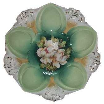 """R S Prussia Bowl Mold 78 With White Flowers 10 1/2"""""""