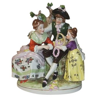 Scheibe Alsbach Germany Porcelain Family In Garden Figurine