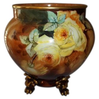 """Limoges Jean Pouyat Jardiniere Yellow Roses 11"""" Tall  Signed by Artist"""