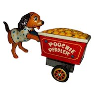 "Vintage Tin Toy Wind Up Poochie Puppy Dog Peddler Japan  4"" Tall"